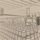 Fábrica de conservas — Vector de stock
