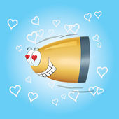 In love bullet flies to the heart — Stock Photo