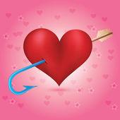 Cupids arrow strikes to the heart — Stock Photo