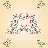 Valentine day card with patterns and heart inside — Stock Photo