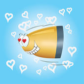 In love bullet flies to the heart — Vector de stock
