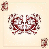 Brown vintage ornament pattern with border — Stock Photo