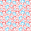 White background with red and blue hearts — Stock Photo #18287067