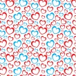 White background with red and blue hearts — Stock Vector