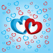 Two volumetric hearts on a blue background — Stock Photo