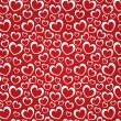 Red background with white hearts — Imagen vectorial