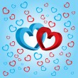 Two volumetric hearts on a blue background — Stock Vector
