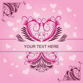 Pink vintage patterns on Valentines day card — Stock Vector