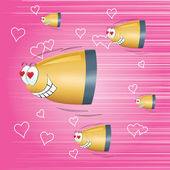 Balas voando para o coração de amor — Vetor de Stock