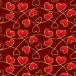 Texture for a Valentine day with red hearts and vintage patterns — Stock Photo