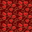 Texture for a Valentine day with red hearts and vintage patterns — Stock Vector