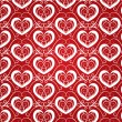 Texture for a Valentine day with white hearts and floral pattern — Stock Vector