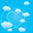 Valentines day card with hearts, arrow and volumetric clouds — Stock Photo