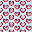 Valentines day bright background with red volumetric hearts — Stock Photo #18951561
