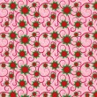 Pink seamless floral background with volumetric flowers — Stockvectorbeeld