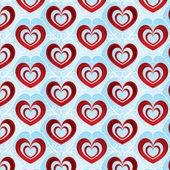 バレンタインの日明るい背景の赤い容積心に — ストックベクタ