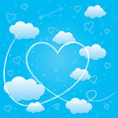 Valentines day card with hearts, arrow and volumetric clouds — Stock Vector