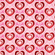 Stock Photo: Valentines day bright background with red volumetric hearts