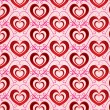 Valentines day bright background with red volumetric hearts — Stock Photo #19037181