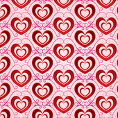 Valentines day bright background with red volumetric hearts — Stock Vector