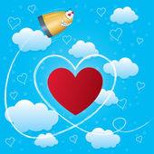 Valentinstag-karte mit herzen, pfeil und kugel — Stockfoto