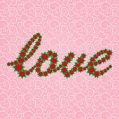 """The word """"Love"""" is lined with red flowers — Stock Vector"""
