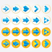 Blue volumetric arrows. Collection. Arrow sign icon set. — Stock Photo