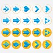 Blue volumetric arrows. Arrow sign icon set. — Stock Vector