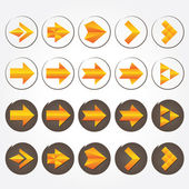 Orange volumetric vector arrows. Arrow sign icon set. — Stock Vector