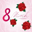 8 march Women's Day card with red lush roses — Stock Photo