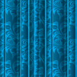 Seamless floral texture on the blue curtains — Stock Photo