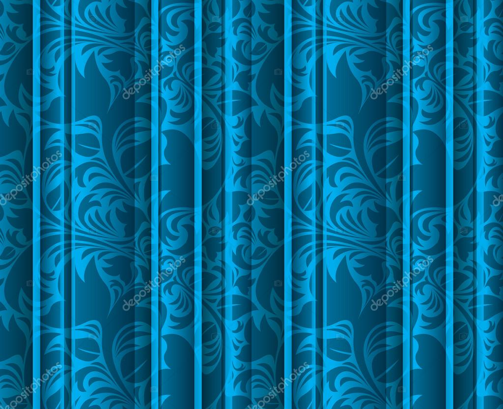 Seamless floral texture on the blue curtains — Stock Photo ...
