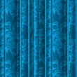 Seamless floral texture on the blue curtains — Stock Vector