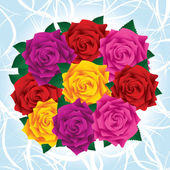 Kytice barevné svěží růží se zelenými listy — Stock vektor