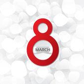 8. března kartu na bílém pozadí abstraktní — Stock fotografie