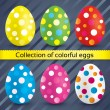 Happy easter colorful textured eggs (collection). — Stock Vector