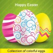 Greeting card with colorful textured eggs — Stock Vector #22469777