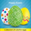 Greeting card with colorful textured eggs — Stock Vector