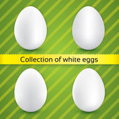 Happy easter white eggs (collection) — Stock Vector