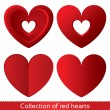 Red paper hearts. Valentines day card on white - Stock Vector