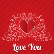Red paper hearts background. Valentines day card. — Stockvectorbeeld