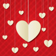 Paper hearts red background. Valentines day card. - Stock Vector