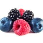 Fresh blueberries, raspberries and blackberries — Stock Photo #25197767