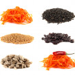 Carrot, seeds, beans collection isolated on white — Stock Photo