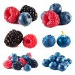 Blueberry, raspberry, blackberry set isolated — Stock Photo