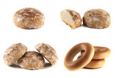 Honey-cake and bagels collection isolated on white — Stock Photo