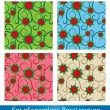 Seamless vector abstract flowers pattern. — Stock Vector