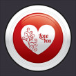Heart button. Vector red round love sticker. — Stock Vector