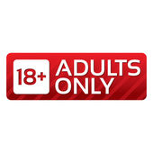 Adults only content button. Vector red sticker. — Stock Vector