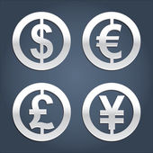 Dollar, Euro, Pound and Yen signs collection. — Stock Vector
